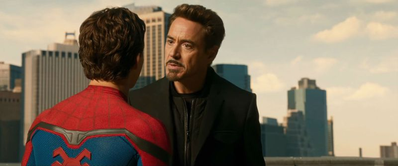 Pictured: Tom Holland as Spider-Man and Robert Downey Jr. as Tony Stark/Iron Man in a scene from the 2017 superhero movie, Spider-Man: Homecoming.
