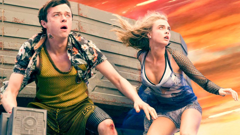 Dane DeHaan and Cara Delevigne in an action sequence from Luc Besson's 2017 sci-fi film, Valerian And The City of A Thousand Planets.