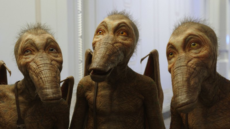 A trio of flying-monkey like aliens from a scene in Luc Besson's 2017 sci-fi movie, Valerian and The City of A thousand Planets.