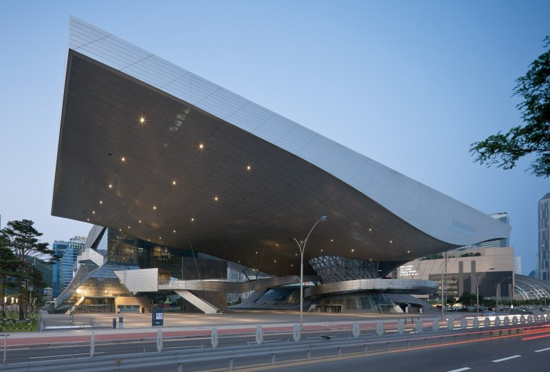 A wide shot of the roof of the Busan Cinema Center