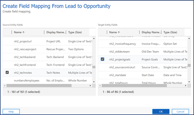 Field level mapping: Select fields to map between entities.