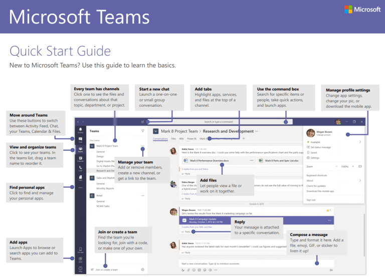 Microsoft Teams Quick Start Guide, from https://pulse.microsoft.com/uploads/prod/2020/03/Microsoft_Teams_Quickstart.pdf