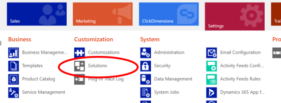 Navigating to Settings, then Solutions in CRM