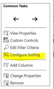 Configure sorting