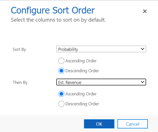 Configure sort order for your view