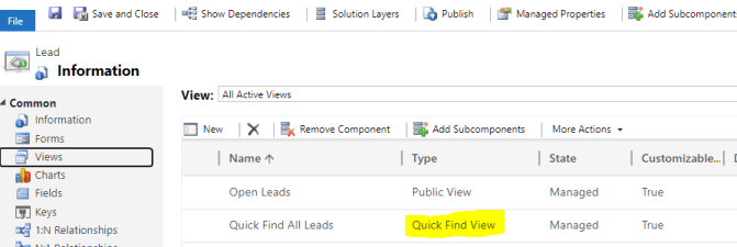Add the Quick Find View for Leads to your solution file.