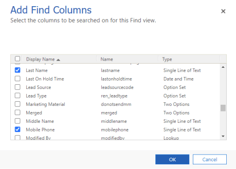 Select find columns to add