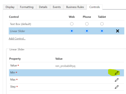 Setting Min, Max and Step Properties for Linear Slider