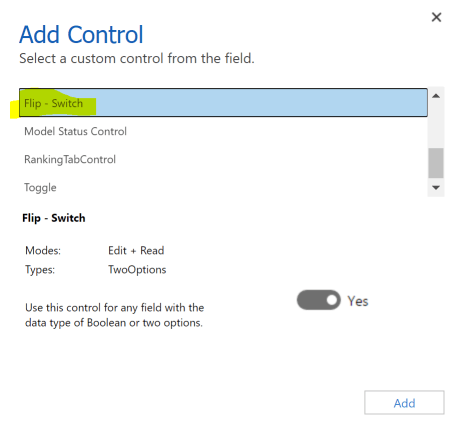 Configure Flip Switch in the Classic Solution designer for Dynamics 365.