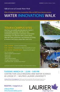 TOUR 6 CAMPUS SITES that have successfully put into practice Laurier's sustainability mandate with best-in-class stormwater management and water conservation technology. Visit Waterloo Park to learn about what the Cities of Kitchener and Waterloo are doing to monitor and restore urban lakes and rivers.