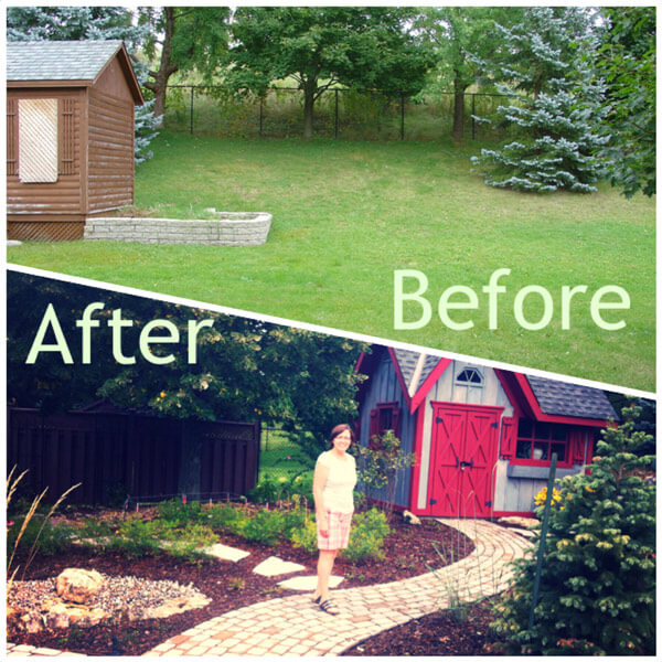 Before and After the landscaping