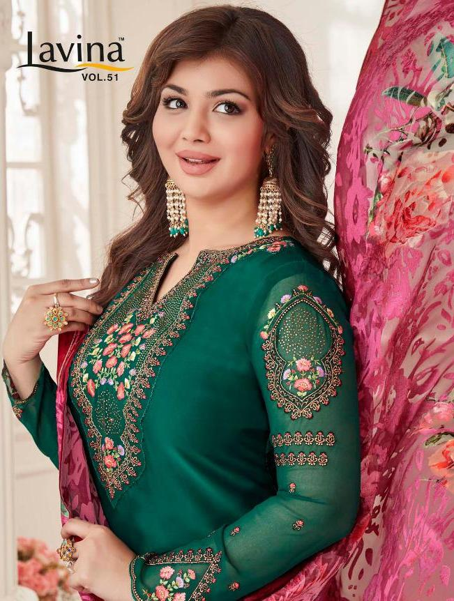 36e74cad8d LAVINA VOL 51 SATIN GEORGETTE SALWAR SUIT WITH BRASSO DUPATTA ...