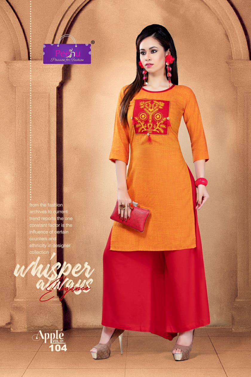 55121a634f PEEHU APPLE KURTI WITH PALAZZO COLLECTION AT CHEAPEST RATE ONLINE ...