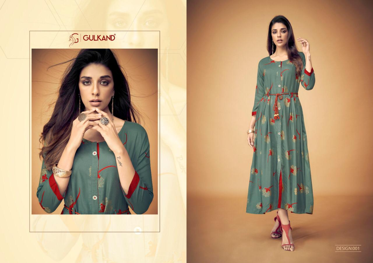 709974de323 MAGICAL BY GULKAND 001 TO 006 SERIES STYLISH FANCY BEAUTIFUL COLORFUL  CASUAL WEAR   ETHNIC WEAR RAYON PRINTED KURTIS WITH BELT AT WHOLESALE PRICE