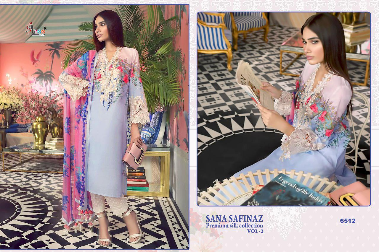 ac37620c40 SANA SAFINAZ PREMIUM SILK COLLECTION VOL-2 BY SHREE FABS 6511 TO 6517  SERIES PAKISTANI STYLISH BEAUTIFUL COLOURFUL PRINTED & EMBROIDERED PARTY  WEAR ...