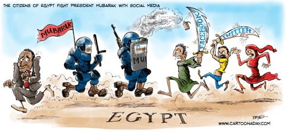 Egypt, Facebook & Twitter cartoon