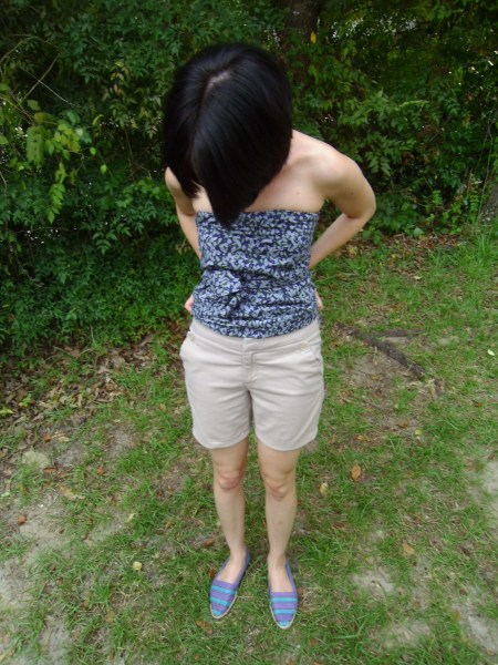 Day 43:  Khaki Shorts & A No-Sew Top 10