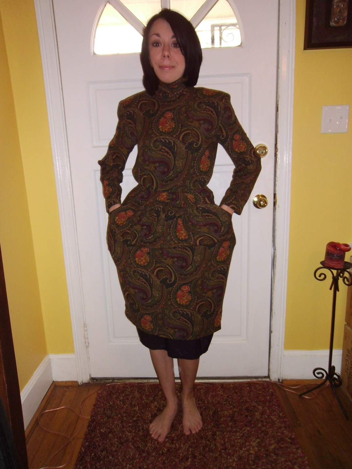 Day 198:  Plucky in Paisley Dress 1