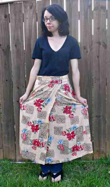 Day 351:  Egyptian Papyrus Skirt to Dress Refashion 1