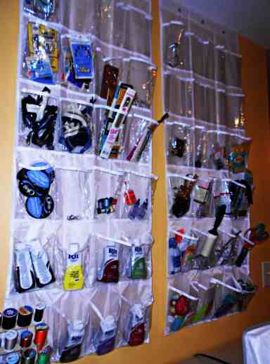 I use cheapo over-the-door shoe bags for storage!