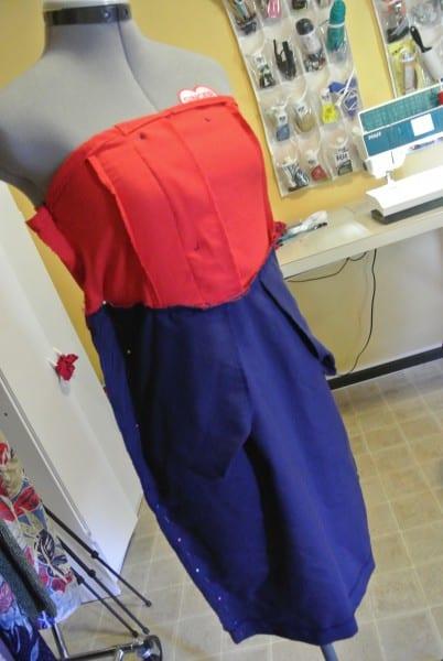 Yacht rock party dress on dress form