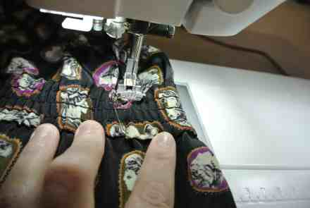 Stitching down the elastic...