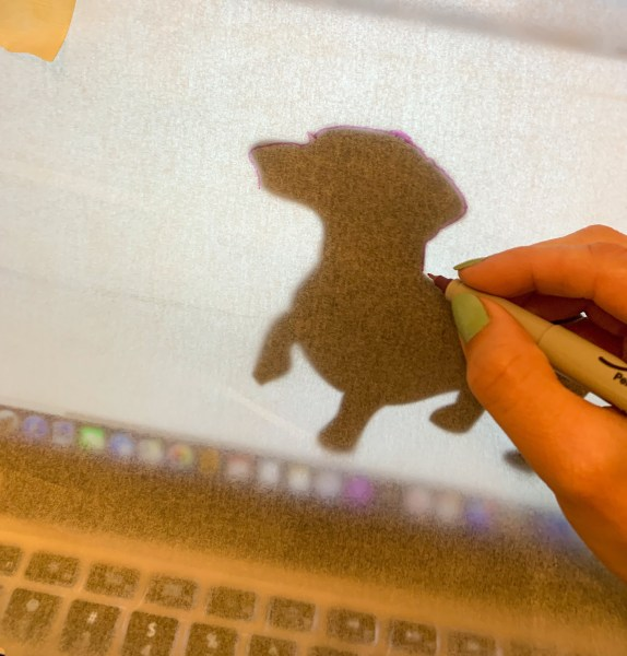 tracing dachshund silhouette
