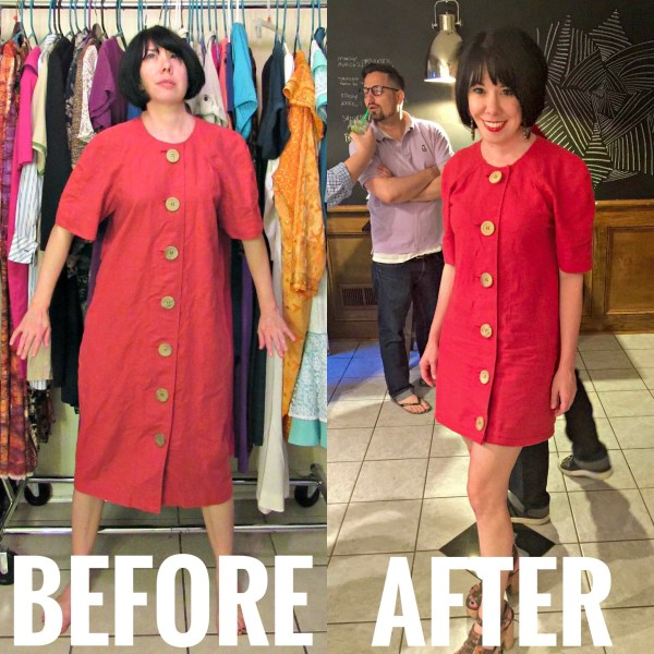 refashionista 90s to 60s mod dress refashion before and after