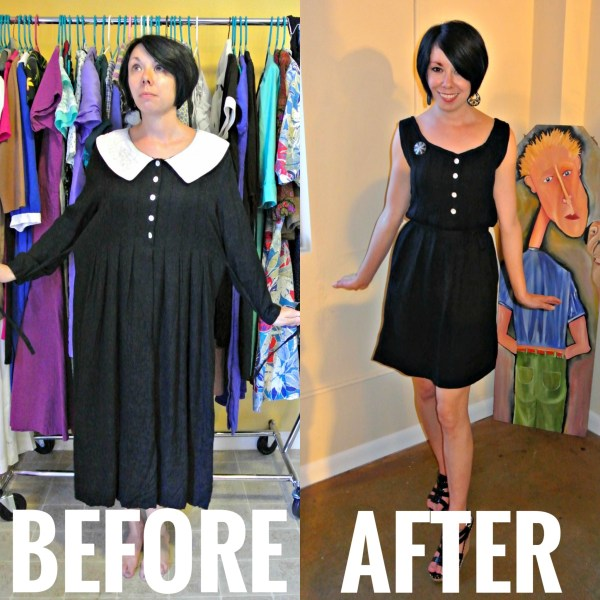 Refashionista Frumpy Collared Dress Refashion Before and After