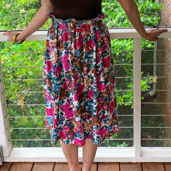 Dress to Elastic Waist Skirt DIY after closeup