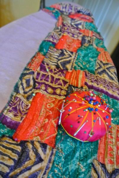 pinned dress on ironing board
