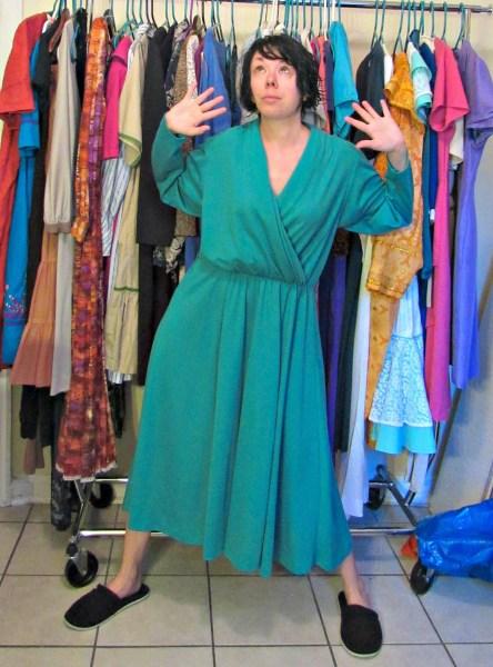 no sew thrift store dress refashion before