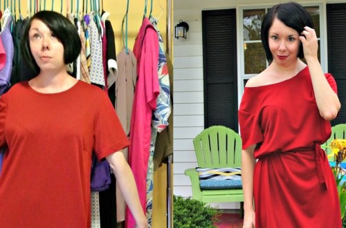 An Off-the-Shoulder No-Sew Dress Refashion! 4