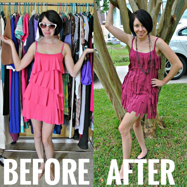 Refashionista DIY Fringed Dress Refashion Before and After