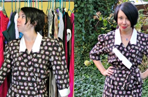 A Cameo Print/Asymmetrical Lapel Dress Refashion 12
