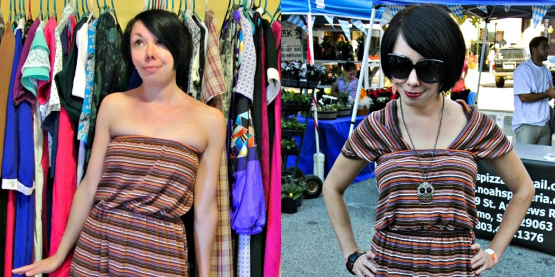 A Dress to Cowl Back Top Refashion 5