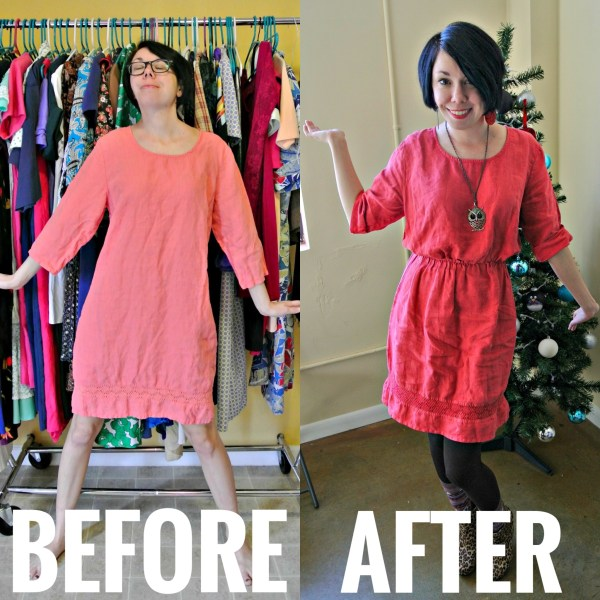 how to add elastic waist to dress before and after