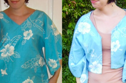 Day 57:  A Shirt to Bolero Refashion: Aloha Edition 16