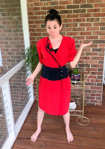 How to Turn a Thrifted Dress into a Top Before Image