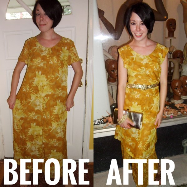 No-Sew Refashion: An Elegant Twist & Cinch Dress Before and After