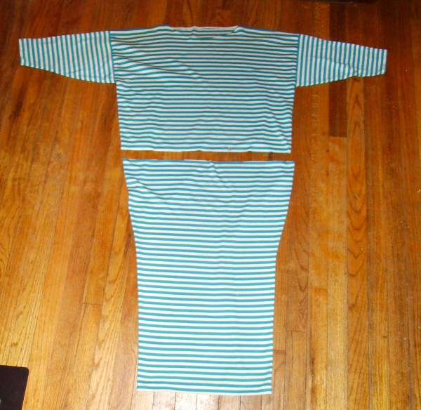 cutting off top of striped dress