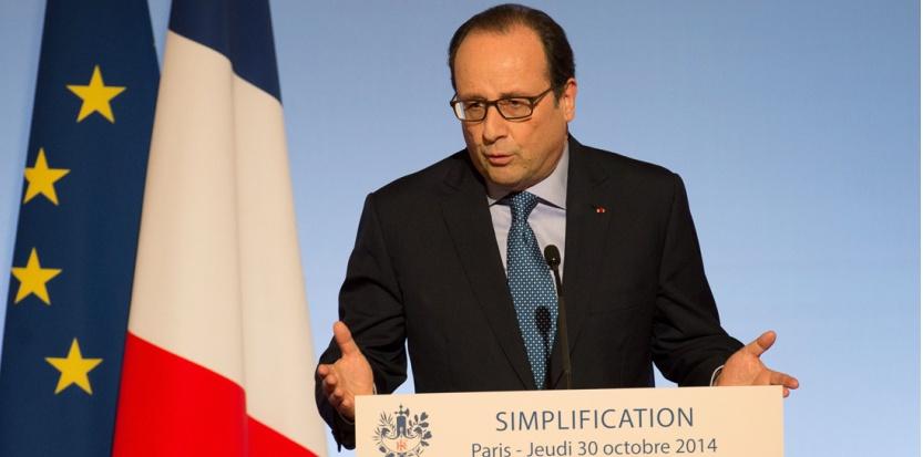 François Hollande présente les mesures de simplifications proposées par le gouvernement, le 30 octobre 2014. (VILLARD/SIPA)