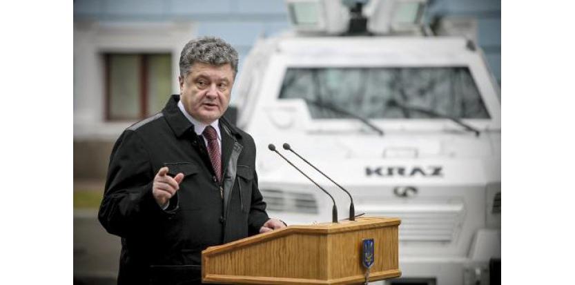 Le président ukrainien Petro Porochenko, s'exprime le 13 novembre 2014 à Kiev (c) Afp