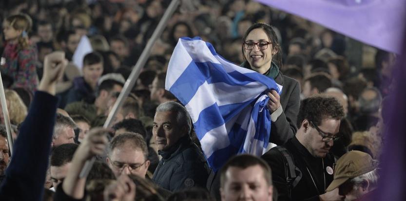 A Athènes, les partisans de Syriza LOUISA GOULIAMAKI / AFP