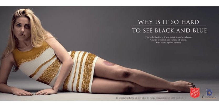 L'Armée du Salut a utilisé le phénomène de la robe que personne ne voit de la même couleur pour lancer une campagne contre les violences conjugales (capture d'écran).