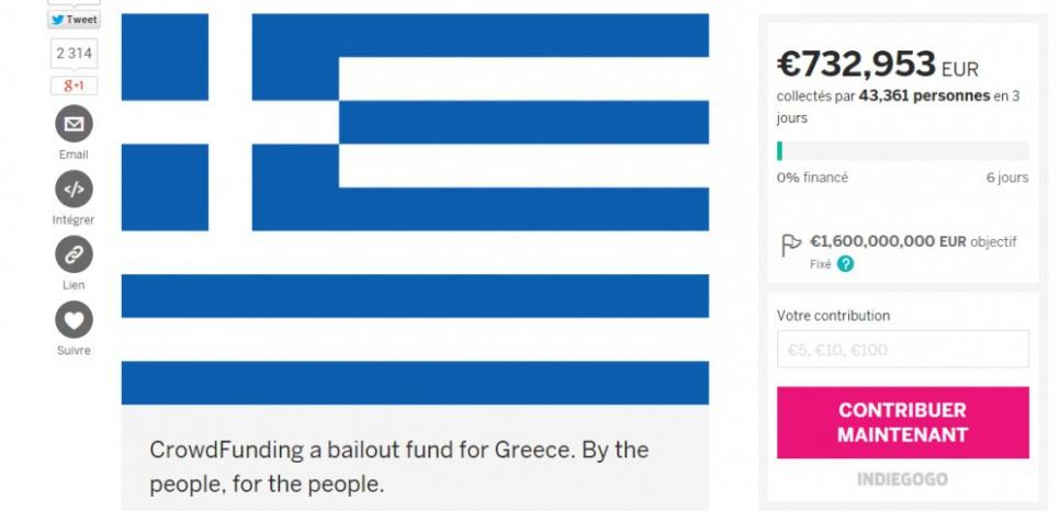 En deux jours à peine, le projet Indiegogo a récolté plus de 700.000 euros pour venir en aide à la Grèce (capture d'écran).