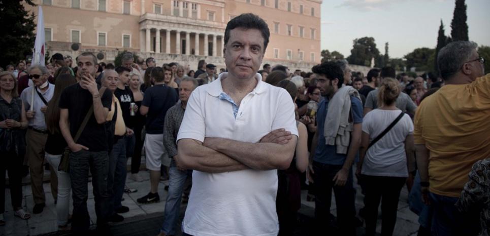 Stathis Kouvelakis, membre du comité central de Syriza et professeur de philosophie critique au King's College de Londres. (Stefania Mizara pour L'Obs)