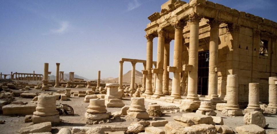 Le temple de Baashalmin, sur le site gréco-romain de Palmyre, en Syrie, avant sa démolition ( DELACOUCHY/SIPA)