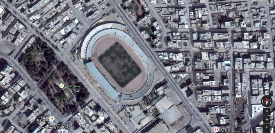 La vue aérienne du stade de Raqqa Capture d'écran de Google maps