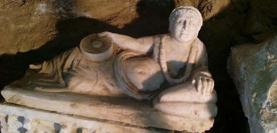 Tombeau étrusque du IIIe-IVe siècle av.J.C découvert le 28 novembre 2015, près de Citta delle Pieve, en Ombrie (Italie) Soprintendenzia archeologia dell Umbria